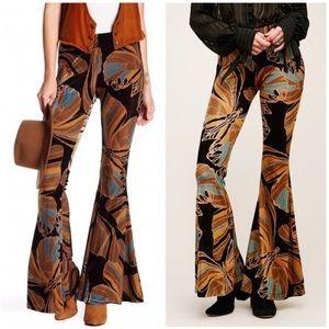 Free people butterfly velvet bellbottom pants